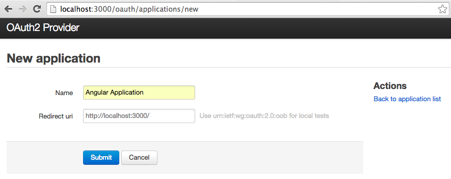 Create OAuth application - step 1