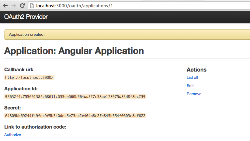 Create OAuth application - step 2