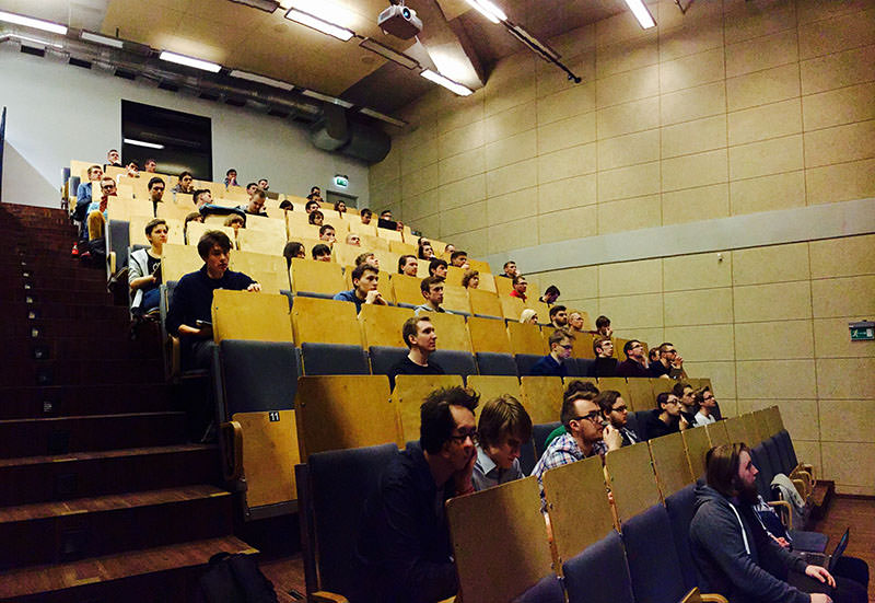 Students listening to Kamila about Ruby on Rails